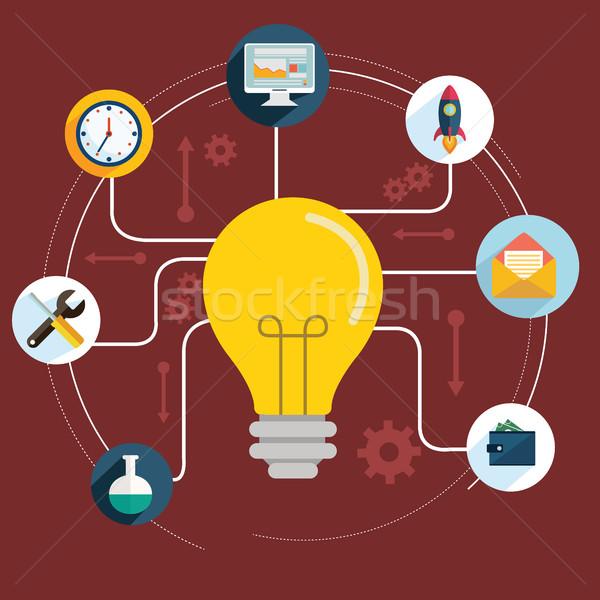 Stijl moderne idee innovatie gloeilamp Stockfoto © Photoroyalty