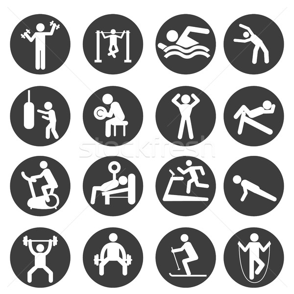 Man People Athletic Gym Gymnasium Body Building Exercise Healthy Training Workout Sign Symbol Pictog Stock photo © Photoroyalty