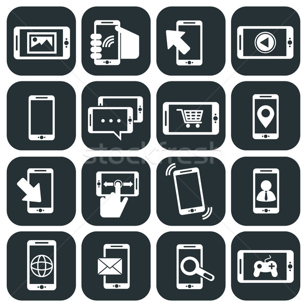 Mobile phone usage and apps icons set Stock photo © Photoroyalty
