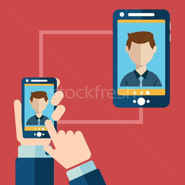 Videó hívás online konferencia okostelefon megbeszélés Stock fotó © Photoroyalty