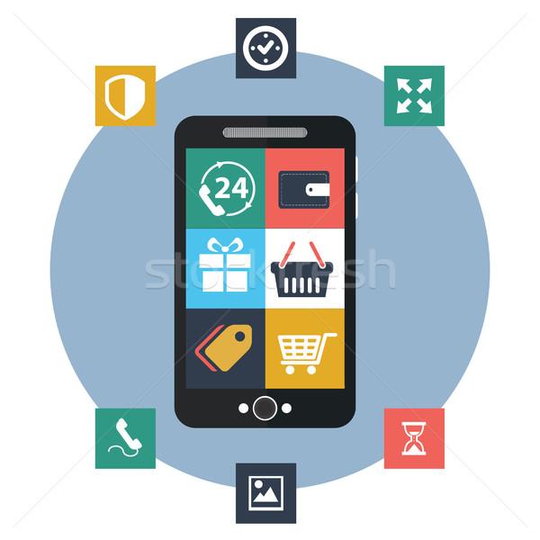 Vector mobile app development, social network concept Stock photo © Photoroyalty