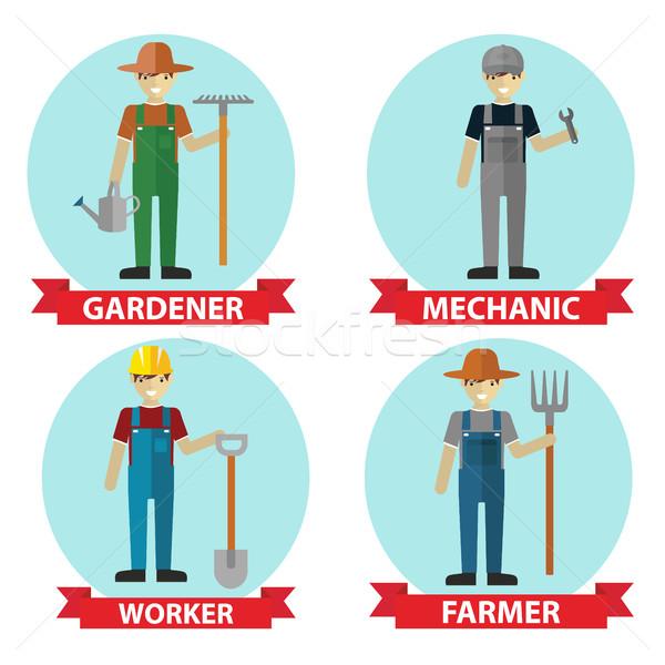 Menselijke beroep vector illustrator werknemers gebouw Stockfoto © Photoroyalty