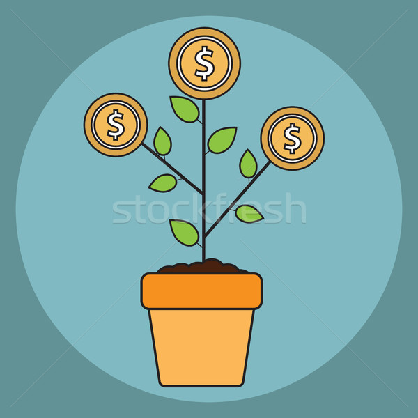 Vector money tree growth concept in flat style Stock photo © Photoroyalty