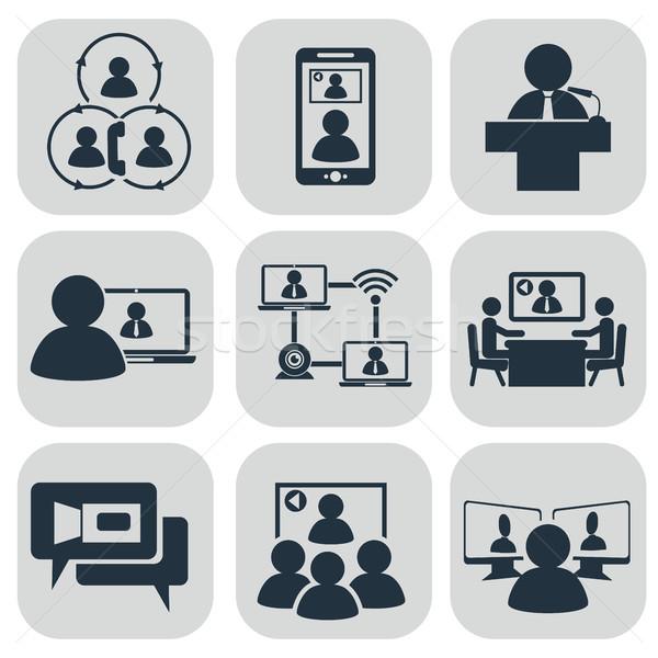 Negócio comunicação vídeo conferência vetor Foto stock © Photoroyalty