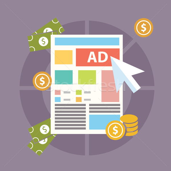 Flat design modern vector illustration concept of pay per click internet advertising model when the  Stock photo © Photoroyalty