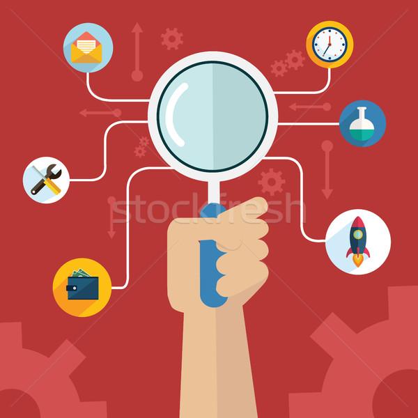 Infográficos seo otimização conjunto ícones mão Foto stock © Photoroyalty