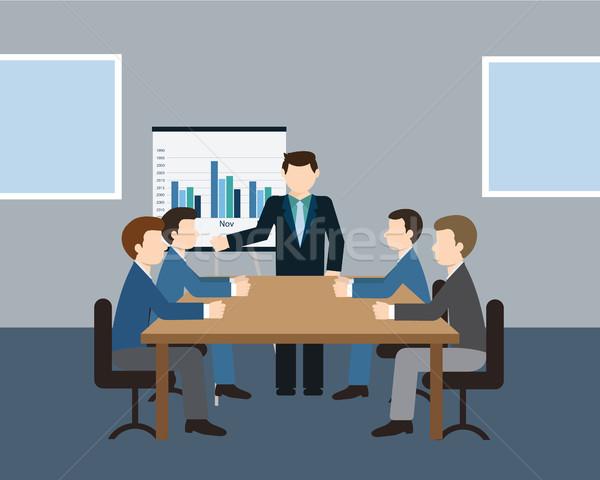 üzleti megbeszélés bemutató iroda megbeszélés konferencia csapat Stock fotó © Photoroyalty