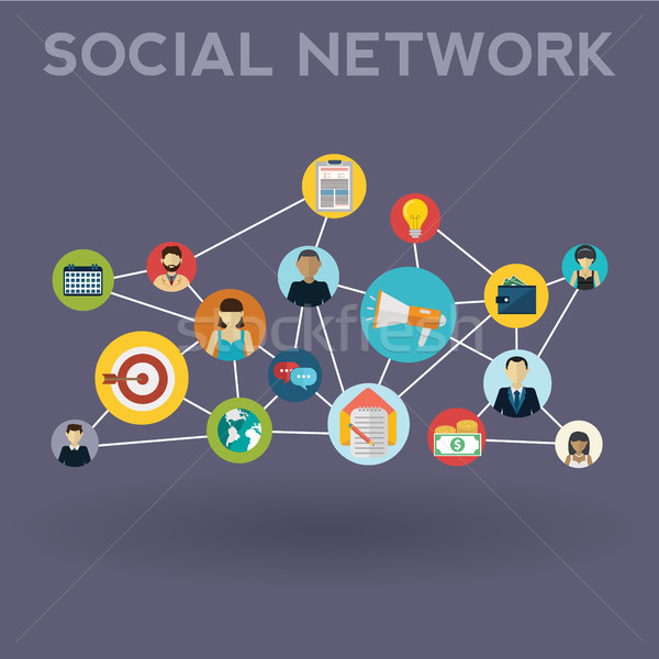Social media network. Growth background with lines, circles and integrate flat icons. Connected symb Stock photo © Photoroyalty