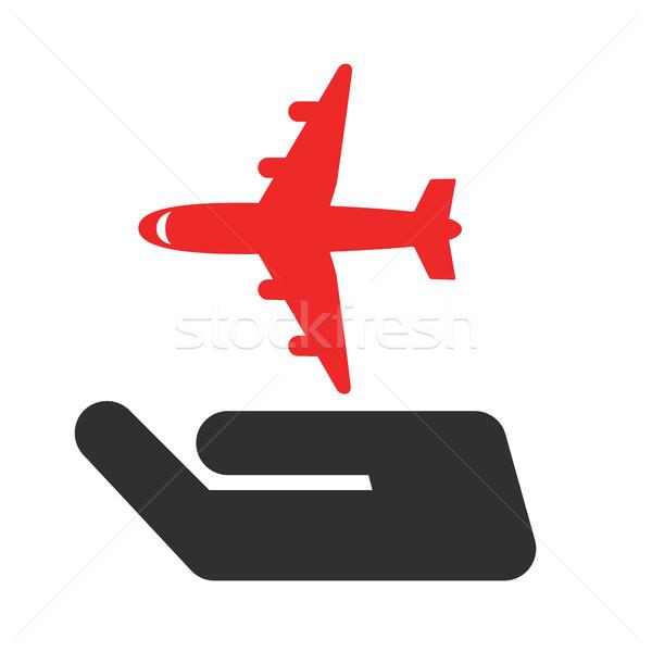 Világ utazás biztosítás felirat kéz repülőgép Stock fotó © Photoroyalty