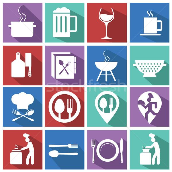 Stok fotoğraf: Pişirme · mutfak · simgeler · renkli · arka · gıda