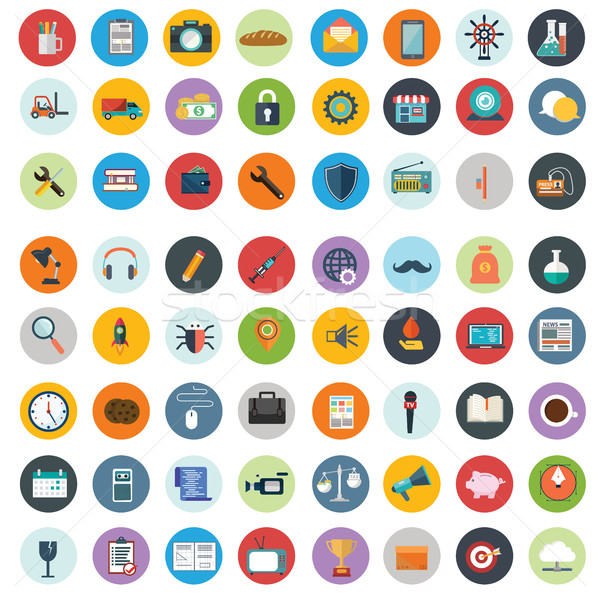 Stock photo: Flat icons design modern vector illustration big set of various financial service items, web and tec