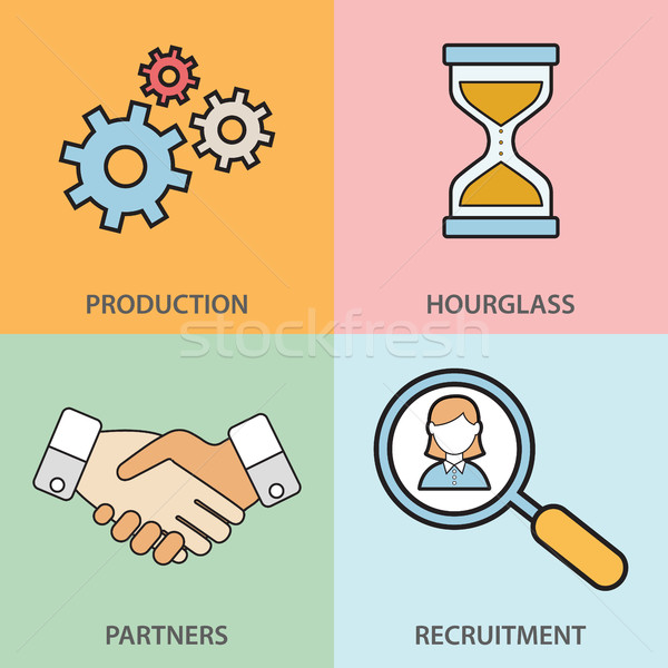 Stock photo: Line icons set with flat design elements of business people communication, professional support, par