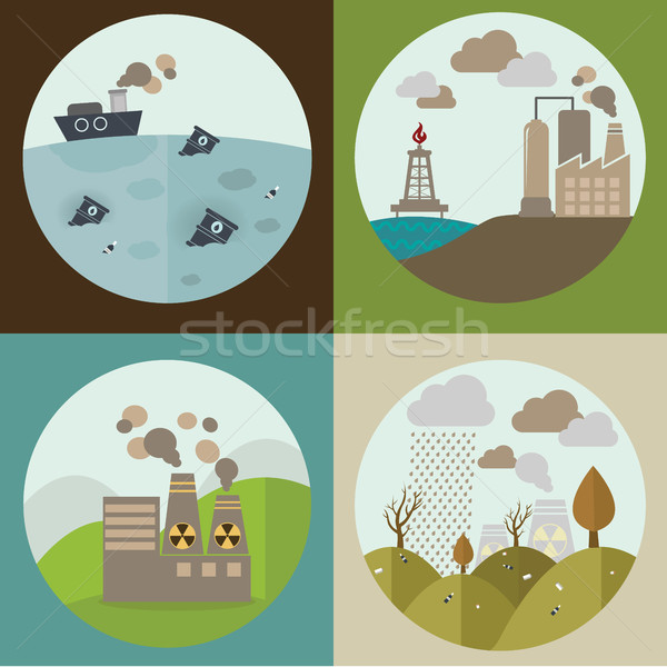Ontwerp iconen ecologie milieu verontreiniging web Stockfoto © Photoroyalty