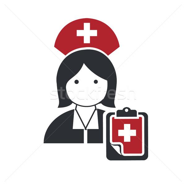 Nővér orvos ikonok terv lány telefon Stock fotó © Photoroyalty