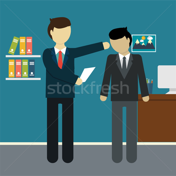 Stock photo: Businessman get fired, flat modern design