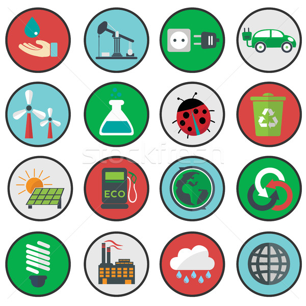 Vector verde eco iconos ecología agua Foto stock © Photoroyalty
