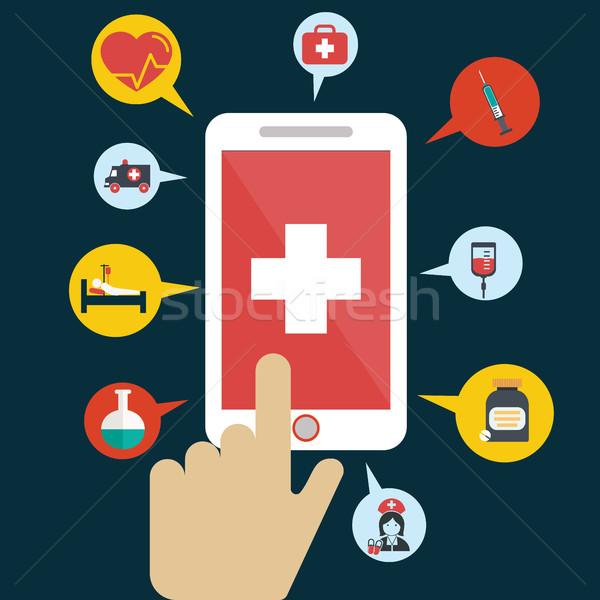 健康 アプリケーション スマートフォン オープン 手 カーソル ストックフォト © Photoroyalty