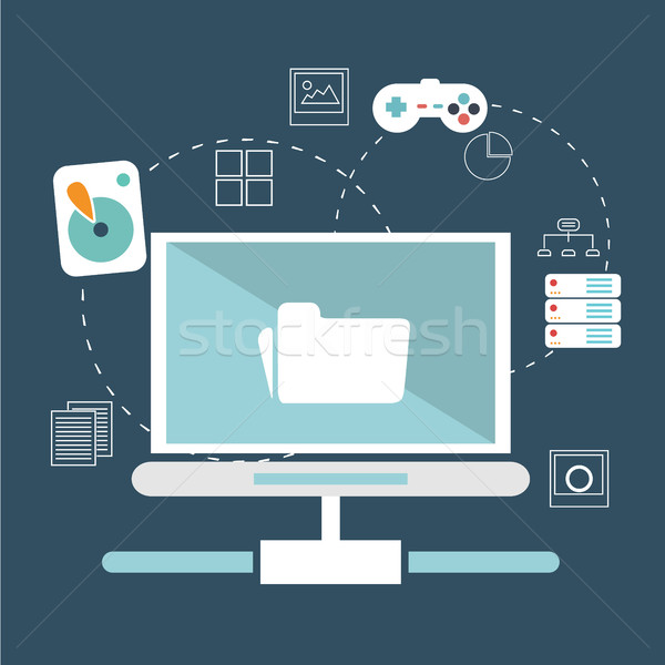 Icons for social network, file sharing, online shopping and mobile services Stock photo © Photoroyalty