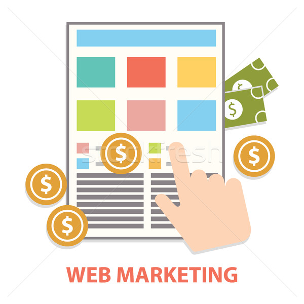 Flat design modern vector illustration concept of web marketing internet advertising model when the  Stock photo © Photoroyalty