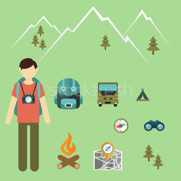 Mountain hiking, nature turist and climbing vector info graphic Stock photo © Photoroyalty
