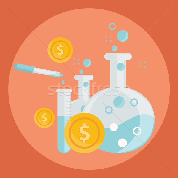 Business concept of alchemy experiment for generating money and ideas with laboratory equipments in  Stock photo © Photoroyalty