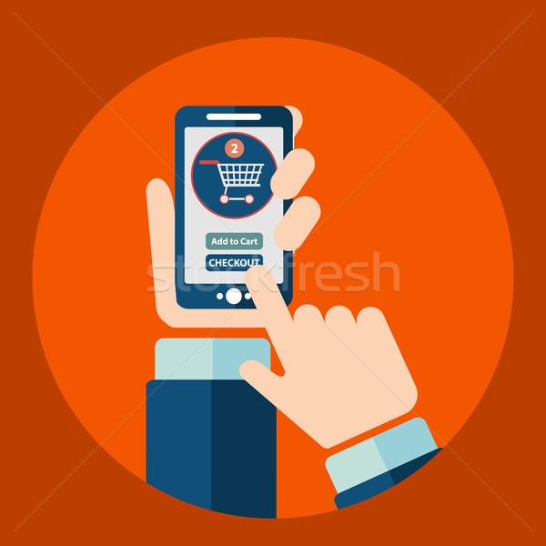 mobile shopping button flat design. Stock photo © Photoroyalty