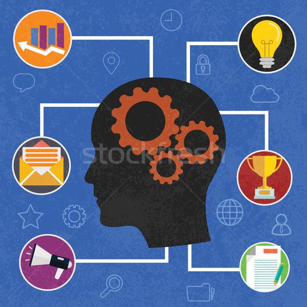 Human head creative idea inspiration - vector illustration in flat design style for business present Stock photo © Photoroyalty