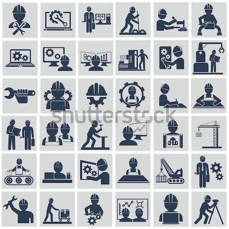 Engineering vector icons set on gray Stock photo © Photoroyalty
