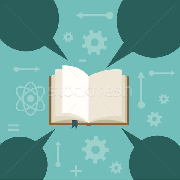 Nyitott könyv szövegbuborékok papír kéz könyvek diák Stock fotó © Photoroyalty