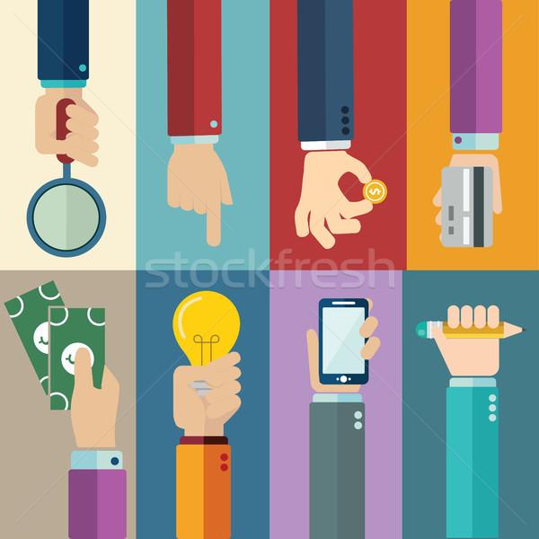 Vektor üzlet fogalmak stílus kezek ikonok Stock fotó © Photoroyalty
