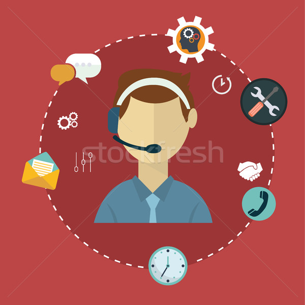 Business customer care service concept flat icons set of contact us support help desk phone call and Stock photo © Photoroyalty