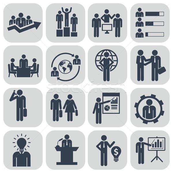 Emberi erőforrások vezetőség ikon szett üzletember konferencia Stock fotó © Photoroyalty