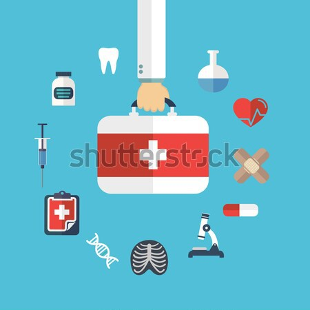 Flat health care and medical research background. Healthcare system concept. Medicine and chemical e Stock photo © Photoroyalty