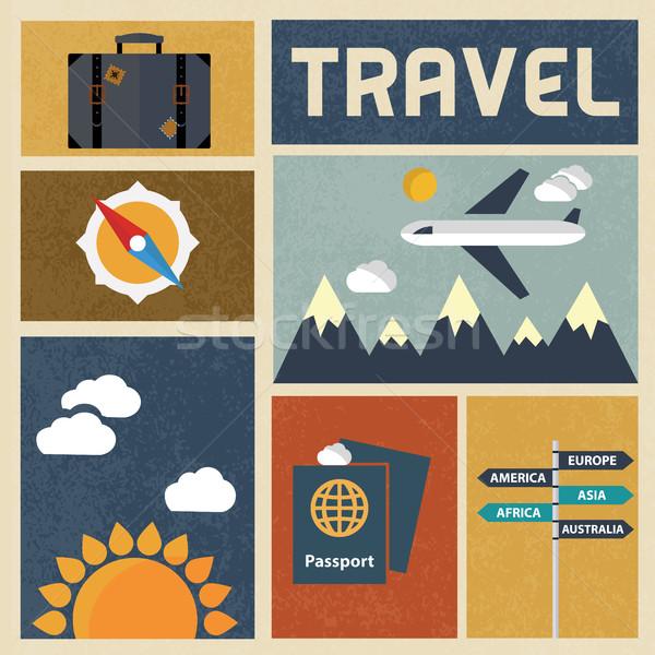 Travel icons set. Retro Vintage design Vector Stock photo © Photoroyalty
