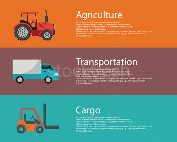Vector modern creative flat design logistics and agriculture vehicles. Cargo truck, forklift and tra Stock photo © Photoroyalty