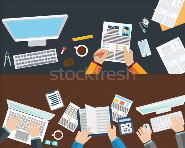 Set of flat design illustration concepts for business, finance, consulting, management, human resour Stock photo © Photoroyalty