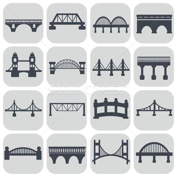 Vector isolated bridges icons set Stock photo © Photoroyalty
