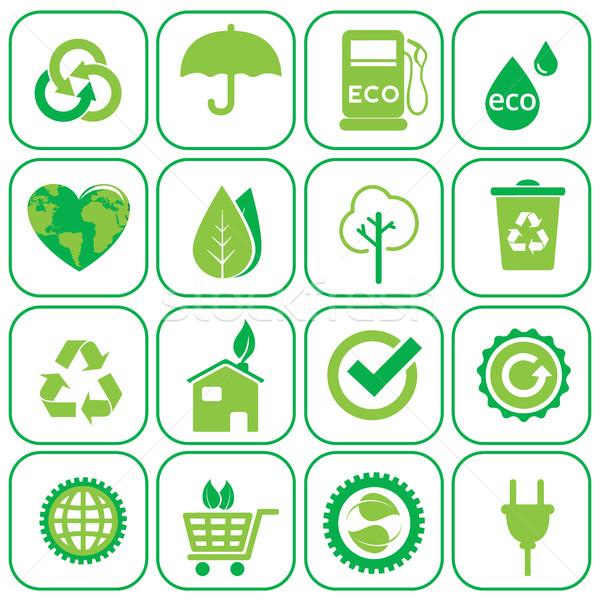 Ecology icons set vector illustration Stock photo © Photoroyalty