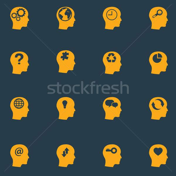 Head brain vector icons set Stock photo © Photoroyalty