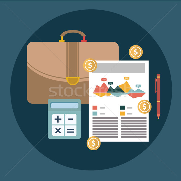 Successful financial business plan report and accounting concept vector illustration. Stock photo © Photoroyalty