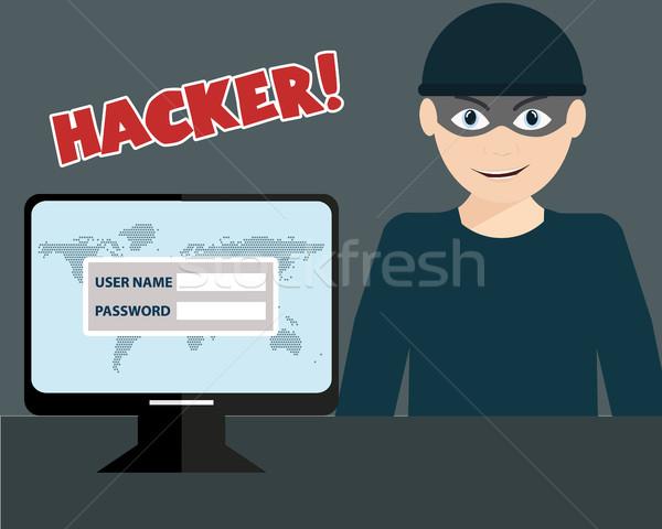 хакер чувствительный данные персональный компьютер компьютер Сток-фото © Photoroyalty