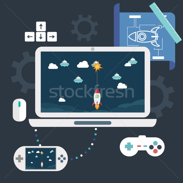 Abstract flat vector illustration of game development concepts. Design elements for mobile and web a Stock photo © Photoroyalty