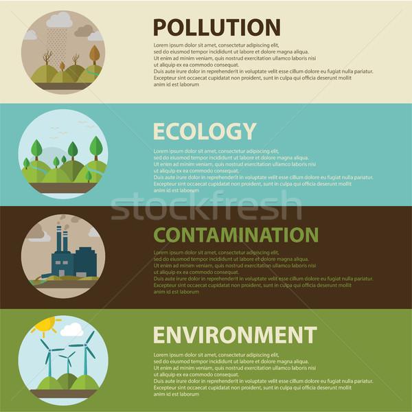 Terv ikonok ökológia környezet zöld energia szennyezés Stock fotó © Photoroyalty