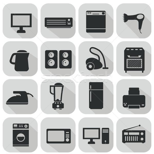 Set of household appliances flat icons Stock photo © Photoroyalty