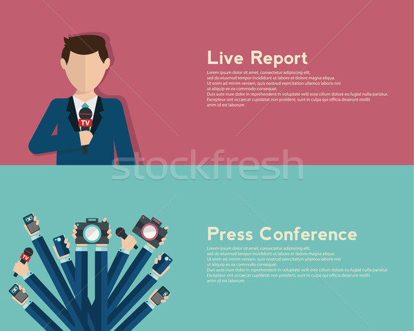 Journalism concept vector illustration in flat style.Vector live report concept, live news, hands of Stock photo © Photoroyalty