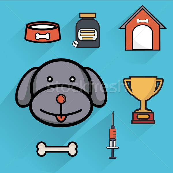 Dog Pet care healthcare accessories flat icons isolated vector illustration Stock photo © Photoroyalty