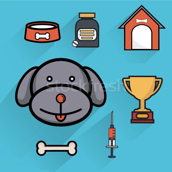 собака уход за домашними животными здравоохранения иконки изолированный Сток-фото © Photoroyalty