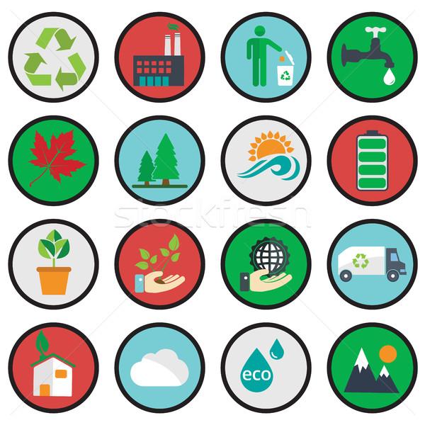 Vector green eco icons, ecology Stock photo © Photoroyalty