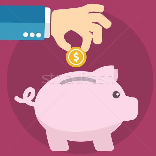 Vector piggy bank concept in flat style - money savings Stock photo © Photoroyalty
