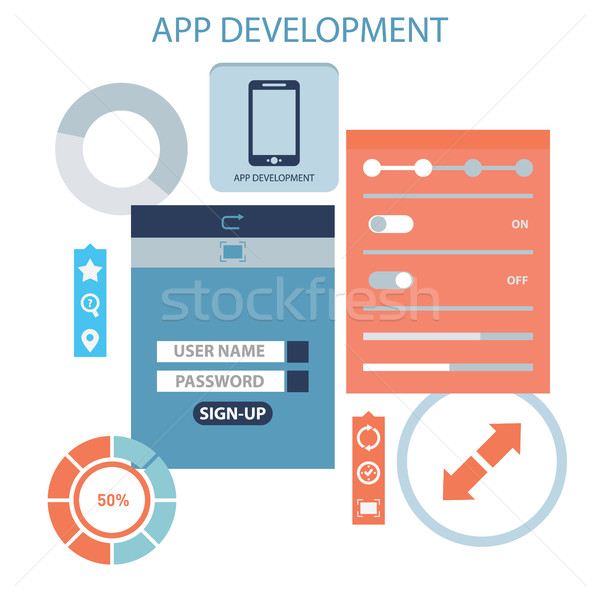 Flat design concept for app development with smartphone, tools, programing code on blue background Stock photo © Photoroyalty